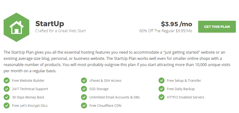 Siteground startup Hosting plan full features