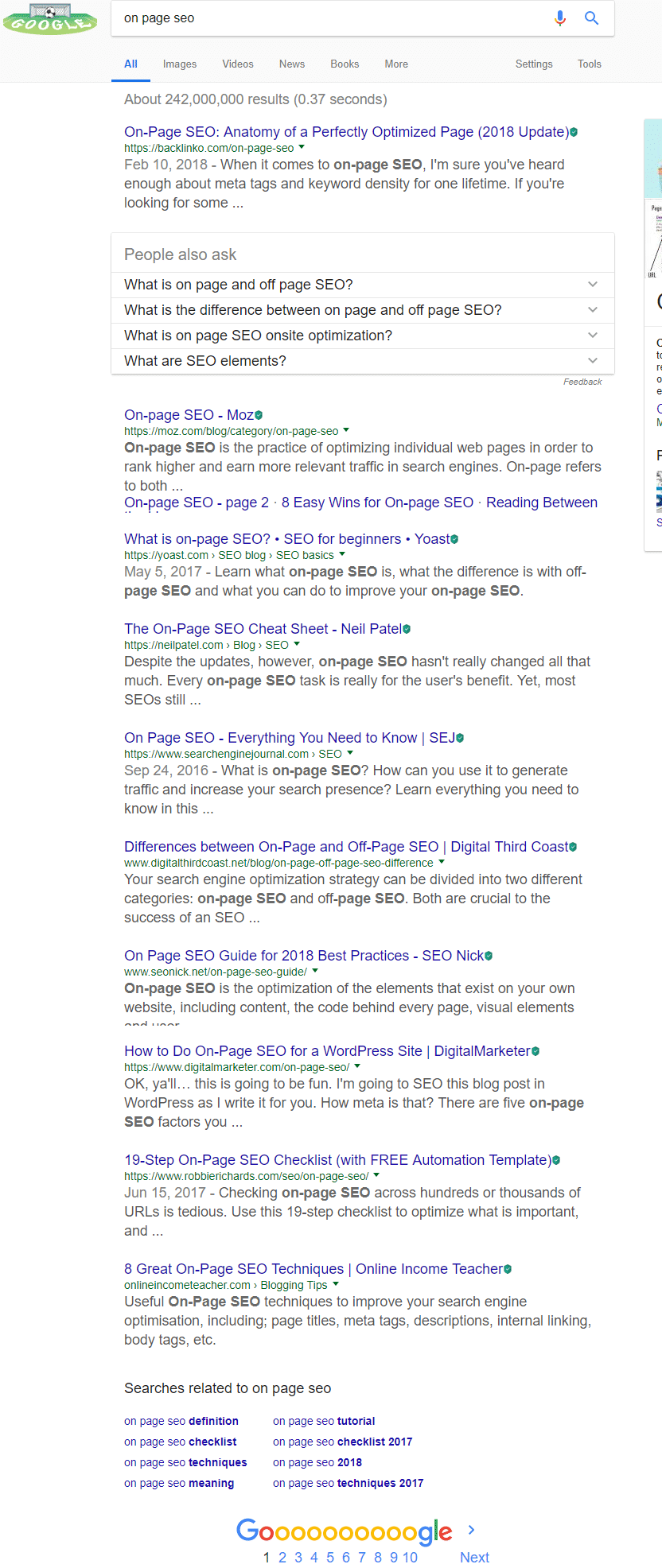 on page SEO search result