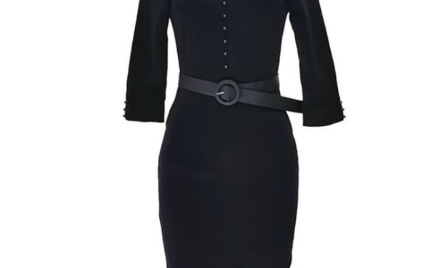 Ladies Blue dress with Long Neck and Sleeves